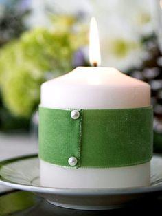ribbon and pins on candles