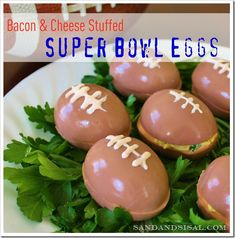 Bacon & Cheese Stuffed Super Bowl Eggs are a game day hit! Your guest will gobble these delicious deviled eggs before halftime! Bacon Deviled Eggs, Bacon Egg, Party Snacks, Appetizers For Party, Yummy Appetizers, Parties Food, Party Games, Sports Food, Sports Party
