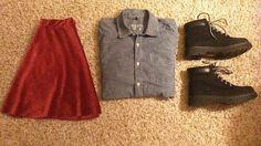 •Velvet Skirt: Handmade •Denim Button-Up: Gap (Men's) •Boots: Charlotte Russe
