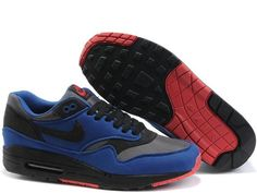 Fake Mens Nike Air Max 1 Medium Grey Deep Blue Black Red Shoes $42.98