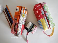 """Finished Size:   7"""" WIDTH X 3 ½"""" HEIGHT X 3"""" DEPTH (Cosmetic Pouch)  7 ½"""" WIDTH X 3"""" HEIGHT X 2 ¼"""" DEPTH (Pencil Case)  3"""" WIDTH X 2 ½"""" HEIGHT X 1 ¼"""" DEPTH (Coin Purse"""