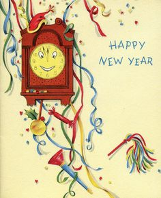 Vintage New Year Card Vintage Happy New Year, Happy New Year 2014, Happy New Year Cards, New Year Greeting Cards, New Year Wishes, New Year Greetings, Vintage Greeting Cards, Vintage Christmas Cards, Vintage Holiday