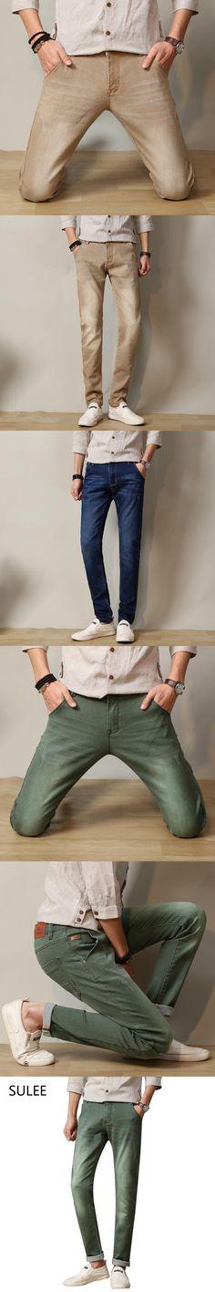 SULEE Mens 6 Colors Stretch Denim Jeans for Men Slim Wash White Jean Pants Trousers Man 30 31 32 33 34 36 38 Mens Jeans