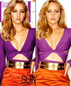Jennifer Lawrence photoshop before and after! I read an article where she talks about this picture and hates that she was photoshopped. She looks gorgeous in the original picture! It is so wrong to make her waist that size!