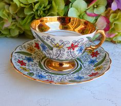 Vintage Rosina Bone China ~ Porcelain Cup & Saucer ~ Enamel Flowers ~ Gold   by Donna's Collectables