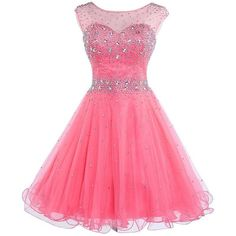 DianSheng Women's Short Tulle Beading Homecoming Dress Graduation Gown ($55) ❤ liked on Polyvore featuring dresses and gowns