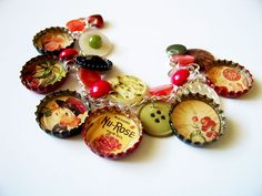 Bottle Cap Charm Bracelet Art Nouveau Nu-Rose  By: M&M Vintage Sweets. So cute!