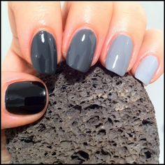 Could use: China Glaze; Liquid Leather, Black Diamond, Concrete Catwalk, Recycle and Pelican Grey - But Black Diamond has a bit of shimmer in it...