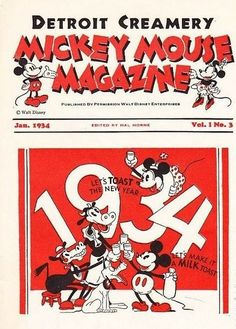 Mickey Mouse Magazine (and Detroit Creamery) make a (milk) toast to 1934.