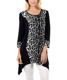 Love this Black Leopard Sidetail Tunic on #zulily! #zulilyfinds