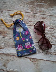 Etui / bawełniany woreczek na okulary - sówki