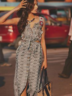 Free People FP New Romantics Nordic Beaded Cutout Dress at Free People Clothing Boutique