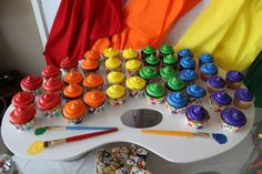 Rainbow cupcakes at an art birthday party! See more party ideas at CatchMyParty.com!