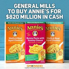 BREAKING NEWS: Annie's Homegrown, the organic food company known for its mac and cheese and earthy vibe, is joining the General Mills empire. More here: http://gmoinside.org/general-mills-buy-annies-820-million-cash-ny-times #food #organic