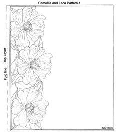 Camellia and Lace Pattern 521 × 600 pixels Scrapbook Examples, Scrapbook Sketches, Rosemaling Pattern, Parchment Design, Paper Bag Scrapbook, Parchment Cards, Cute Frames, Wedding Scrapbook, Stained Glass Patterns