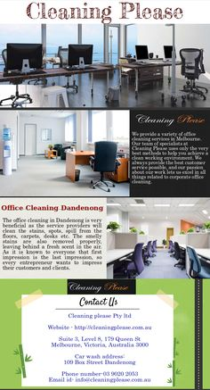 If you are wondering how to keep up with your work and maintain a clean, bacteria and germ free office environment, you should contact #OfficeCleaningDandenong services which specialize in Commercial/domestic cleaning, our products are non toxic chemical free only.