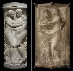 Sarcophagi of the Tetnies family, found in the necropolis of Vulci.  Inscriptions from the sarcophagi reveal that one belongs to a mother and father (left), and the other to their son and his wife (right). Each couple are depicted in a loving embrace on the lid of their respective sarcophagi - the intimacy depicted is unprecedented even in Etruscan art.  Museum of Fine Arts, Boston.