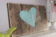 Rustic love sign. Shabby chic wooden heart sign. Nursery/home decor. Stained and distressed with teal and cream accents.