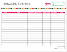 keep track of your donations more easily with this donation tracker spring cleaning donate or sell the realistic organizer from the blog pinterest