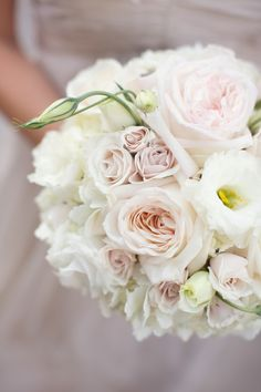Creamy Ivory and Pale Pink Bouquet | See the wedding on #SMP: http://www.stylemepretty.com/texas-weddings/dallas/2013/12/16/joule-hotel-wedding/   Sarah Kate Photographer