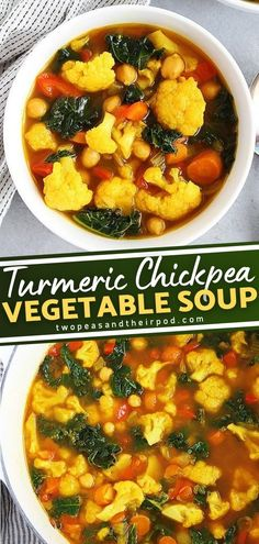 Turmeric Chickpea Vegetable Soup is the best homemade soup recipe! This healthy vegetable soup will warm and fill you up on cold winter nights. It's loaded with vegetables and flavor and its also easily customizable. Save this quick and easy comfort food dinner recipe! Vegetable Soup Healthy, Homemade Soup, Chana Masala, Turmeric, Soup Recipes, Healthy Lifestyle, Healthy Eating, Dinner, Vegetables