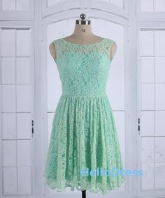 Mint Bridesmaid Dress,Mint Lace Dress, Lace Prom Dress,Lace Short Dress on Etsy, $80.00