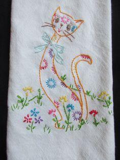 Vintage inspirou Floral Bordado À Mão Gato Em Algodão Cozinha Toalha De Mão | Colecionáveis, Roupas de mesa, cama, banho e têxteis (1930 até o presente), Artigos têxteis para cozinha | eBay!
