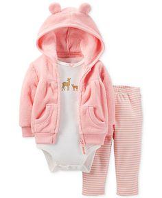 Carter's Baby Girls' 3-Piece Cardigan, Bodysuit & Pants Set