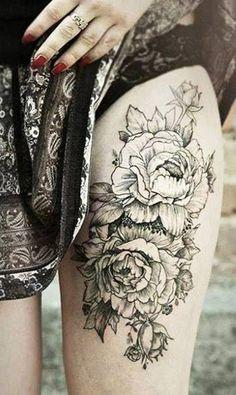 Cool Leg Tattoos - Black Floral Thigh Tattoo #tattoo #tattoosideas #tattooart