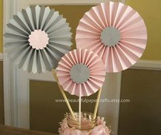 Pink and Gray Rosette Centerpieces, Pink and Gray Baby Showers, Bridal Shower Paper Fans - Pinwheels - Candy Buffet Decorations Baby Shower Chevron, Grey Baby Shower, Backdrop Decorations, Backdrops, Decoracion Baby Shower Niña, Polka Dot Party, Paper Rosettes, Paper Fans, Baby Decor
