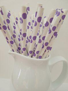 25 Purple Polka Dots Drinking Paper Straws, Mason Jar Straws Party Straws Shower, Wedding, Birthday, Picnic Straws- Fast Shipping!