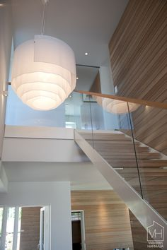 Wood and glass Stair Railing, Railings, Glass Stairs, Interior Architecture, Interior Design, Wood Glass, Stairways, Home Projects, Interior Inspiration