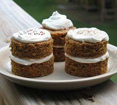 Carrot Cake Towers - You don't have to be a diabetic to enjoy these, my kids can vouch for that. However, if you need it, the nutritional information is available at the end.