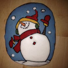snowman happiness cookie Painted Rocks, Gingerbread, Snowman, Cookie, Painted Stones, Biscuit, Snowmen, Pretzel Bark, Biscuits