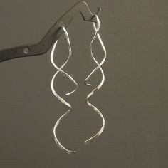 Spiral Silver Earrings / Long Spirals / Hammered by MetalRocks,
