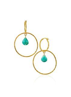 Turquoise Tri Hoop Earrings Gold