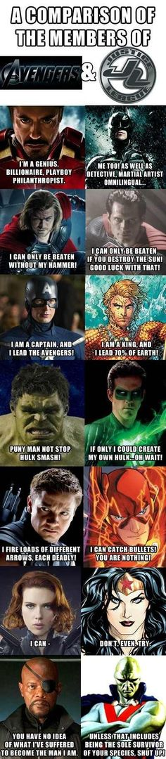 The Avengers vs. The Justice League. Marvel still makes better movies, but I still love young justice: