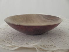 Wooden Decor Dish Walnut And Red Ink Handmade by deadtreewoodworks