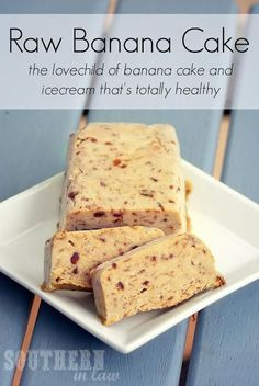 Banana Cake: just three simple ingredients (raw, vegan).  | pinned and loved by www.intuitivekb.com