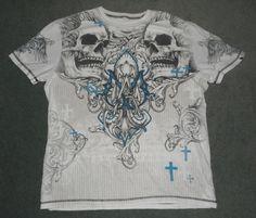 Men's Grey & White MMA ELITE Skulls Wings Crosses Graphic Logo Shirt, Size XL #MMAELITE #CrewNeckPullOver