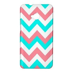 Pink Blue Chevron HTC One M7 Case Cover