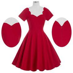 Rosso Anni 50 Abito Stile Vintage Casalinga Vestito Da Ballo Swing Pinup Corto