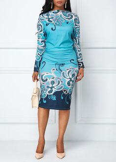 b78125a2a371 Long Sleeve Ruched Printed Sheath Dress   Rosewe.com - USD  32.19. KleiderAfrikanisches  KleidSexy ...