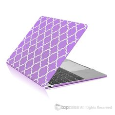 "Quatrefoil / Moroccan Trellis Purple Ultra Slim Matte Hard Case for New Macbook 12"" Retina Display Model A1534 (Newest Version 2015)"
