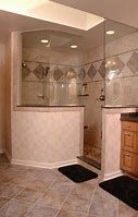 Design Options for Walk-in Showers A knee wall creates privacy in a doorless walk-in shower with a glass enclosure. By Neal's Design Remodel.A knee wall creates privacy in a doorless walk-in shower with a glass enclosure. By Neal's Design Remodel. Small Shower Remodel, Diy Bathroom Remodel, Bathroom Remodeling, Remodeling Ideas, Bath Remodel, Walk In Shower, Shower Doors, Dream Shower, Showers Without Doors