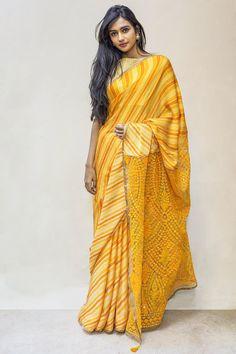 Yellow leheriya saree with threadwork pallu House Of Blouse House Of Blouse, Yellow Saree, Pure Silk Sarees, Saree Collection, Sarees Online, Indian Wear, Blouse Designs, Pure Products, Saris