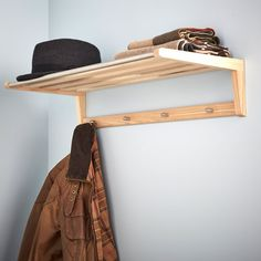Wooden Coat Rack & Shelf