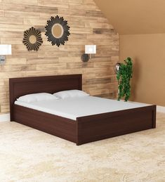Buy Dazzle Queen Bed in Walnut Finish by HomeTown Online - Modern Queen Size Beds - Beds - Furniture - Pepperfry Product Latest Wooden Bed Designs, Simple Bed Designs, Bed Designs With Storage, Double Bed Designs, Living Room Wall Designs, Living Room Partition Design, Bedroom Closet Design, Bedroom Furniture Design, Bed Furniture