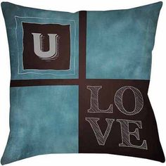 Thumbprintz Chalkboard Monogram Blue Decorative Pillows