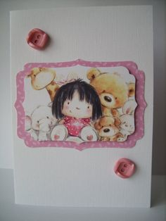 OOAK Pretty Pink Girl Card  Any Occasion by AuntyJoanCrafts, £2.50